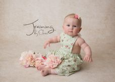 Floral Mint Pinafore with attached bloomers ~ 6-9 months